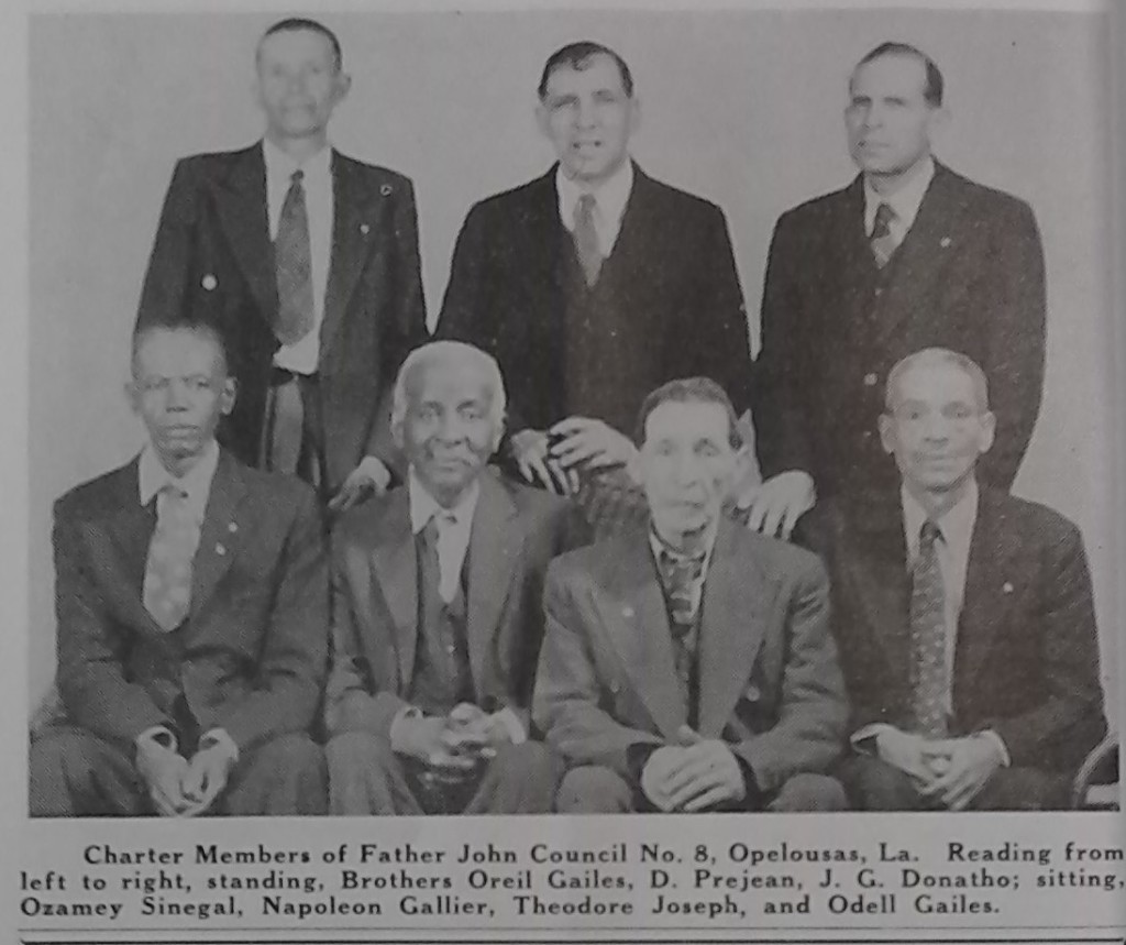 Standing left to right: Oreil Gailes, D. Prejean, J.G. Donatho. Seated left to right: Ozamey Sinegal, Napoleon Gallier, Theodore Joseph, Odell Gailes.