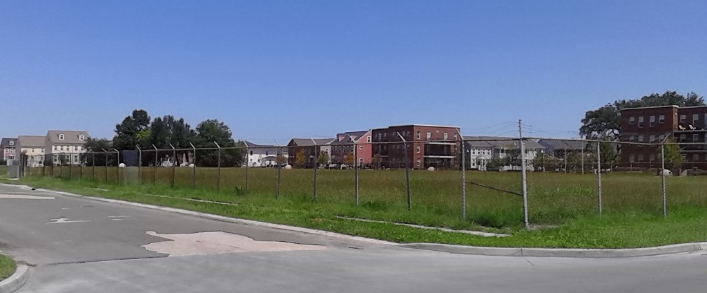 Lafon school from 7th & Freret streets with barely visible rembrance orbs