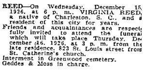 Obituary of Virginia Reed (The Times-Picayune, 16 December 1926
